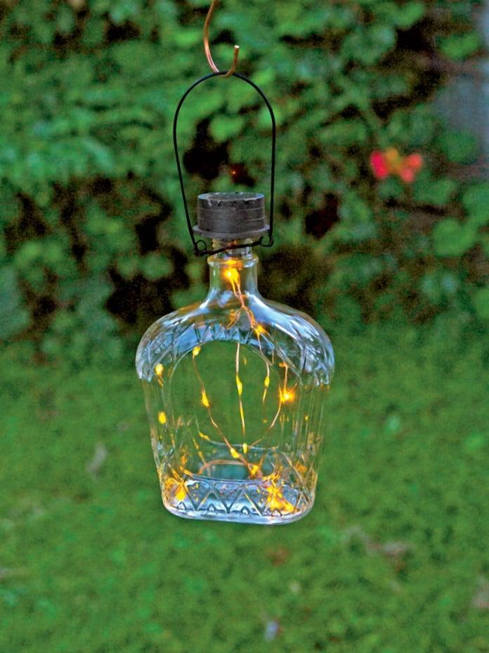 solar bottle lanterns are great outdoor solar lighting ideas