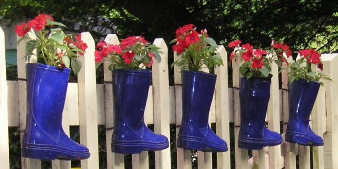 Blue Rain Boot Flower Pots