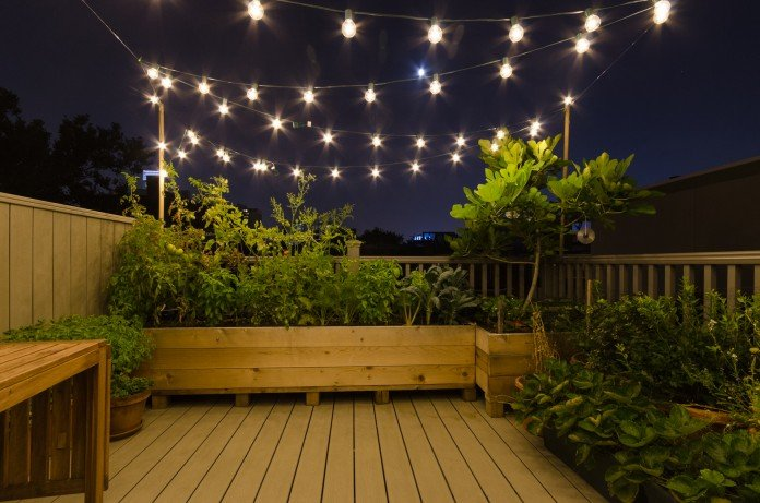Lovely Rooftop Deck - Container Garden at nigth