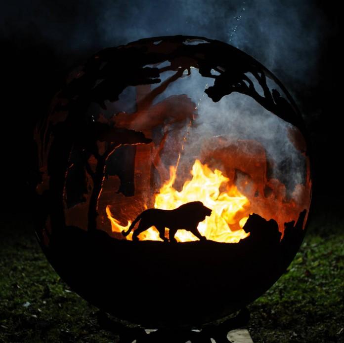 Steel Fire Pit Lions