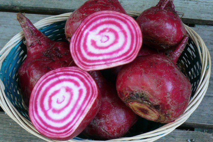 Striped beets are almost psychedelic.