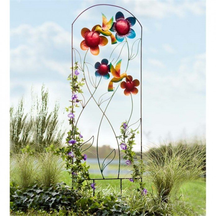 Metal Hummingbird Garden Trellis