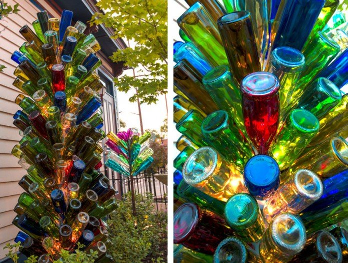 Colorful Glass Bottle Tree Idea with Lights