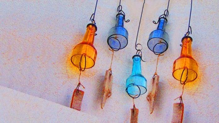 Orange and Blue DIY Wind Chime Bottles