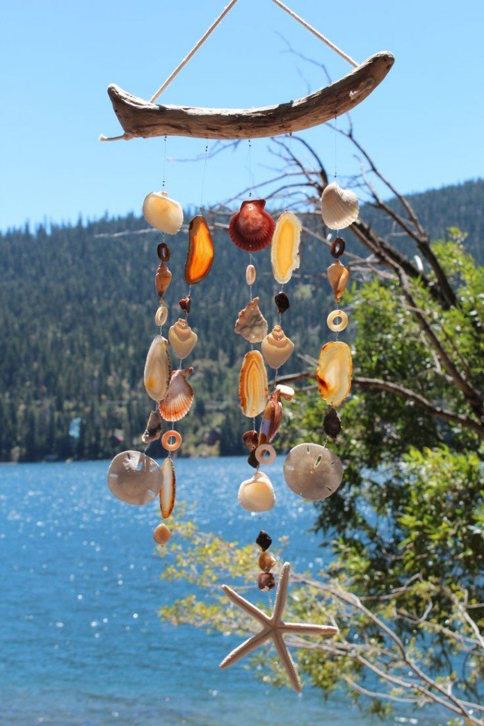 Driftwood Seashell Agate Chimes