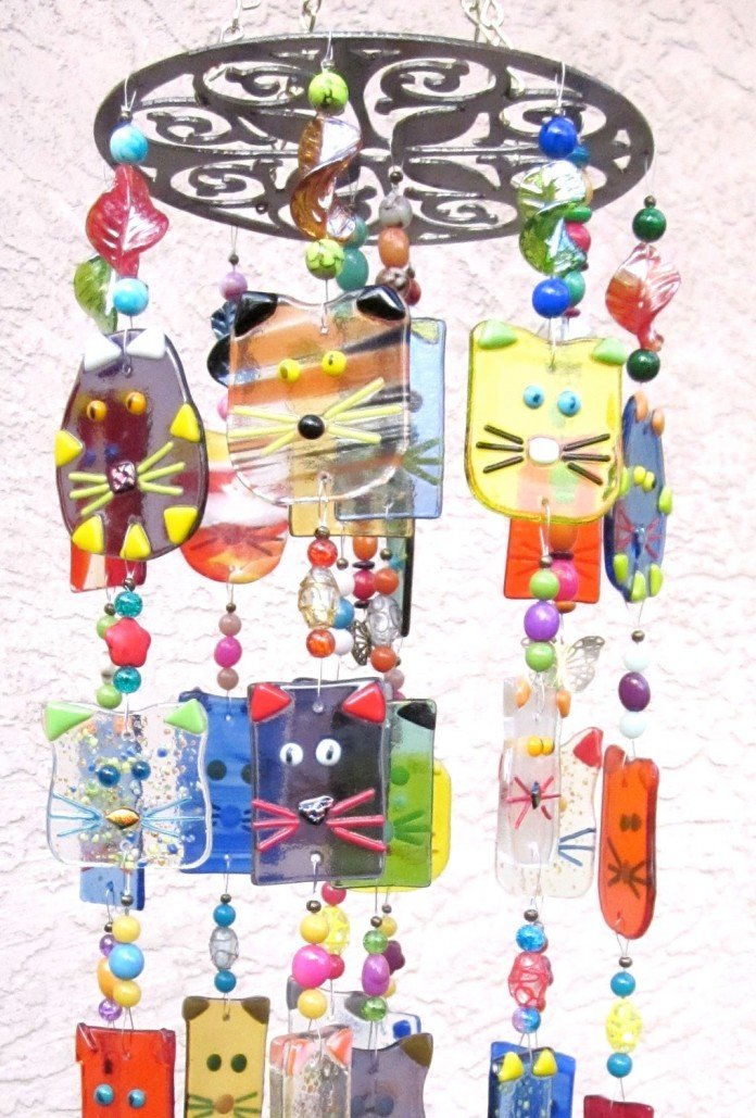 Glass Cats Smiling Chimes