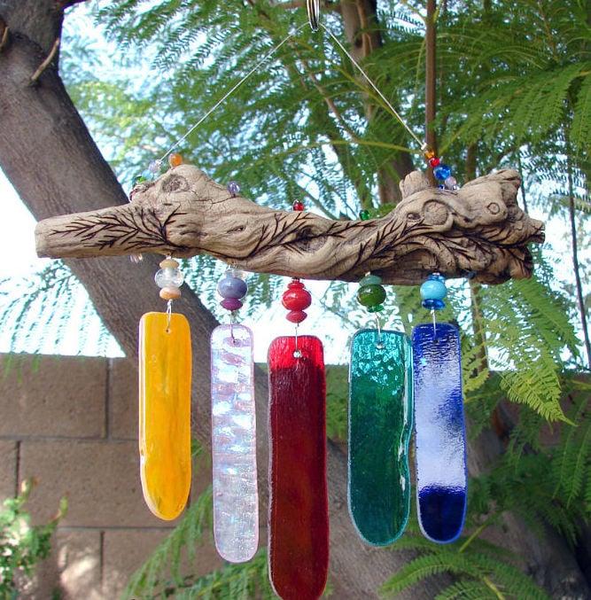 Wind Chimes Glass Driftwood Idea