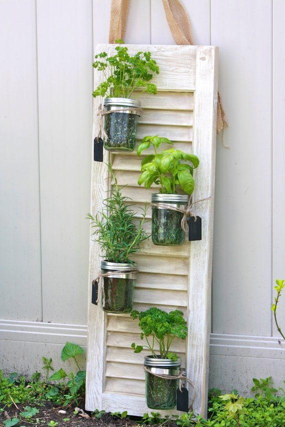 Mason jar vertical planters