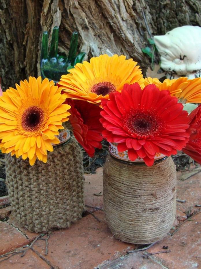 Mason Jar vase of jute
