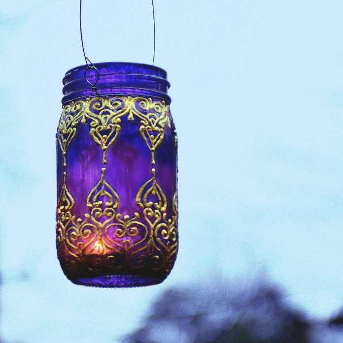 Morocco painted mason jar candle