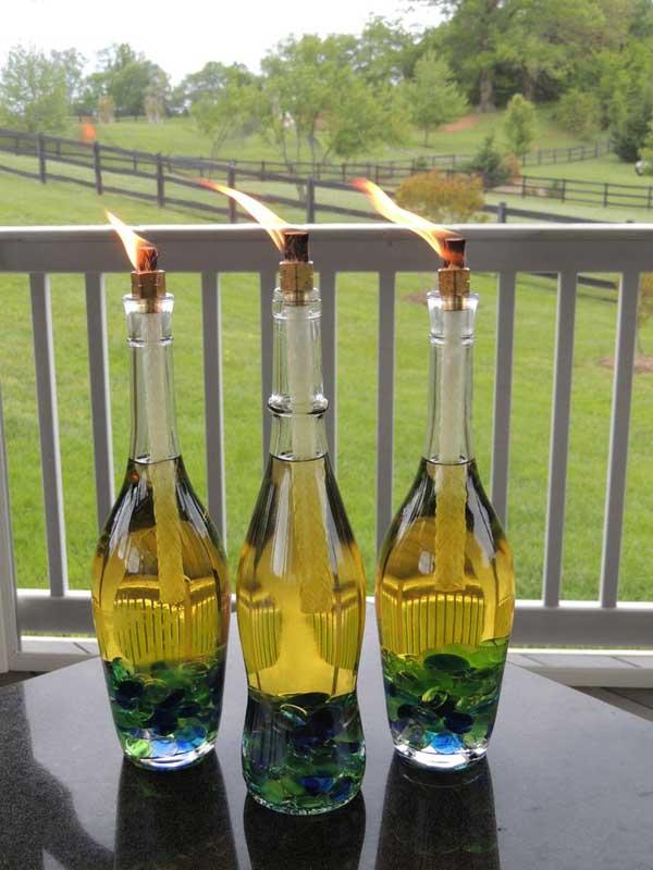 Clear Glass Bottle Torch Ideas