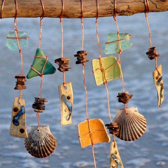 Found bits natural wind chime design