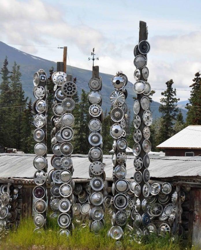 Hub Cap Totem Sculpture