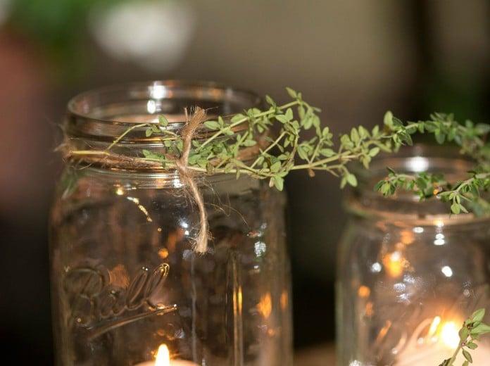 Mason jars with herbs