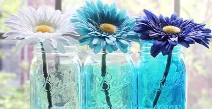 Mason jars coordinated florals