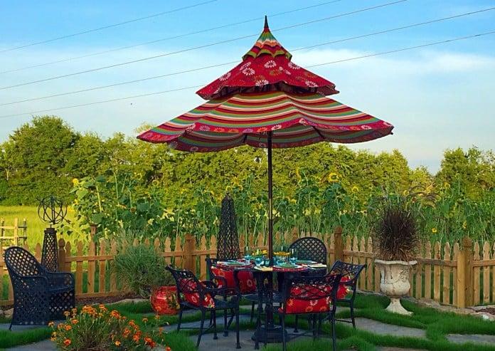 45 patio umbrella ideas & sun shade sail designs for backyard - Designer Patio Umbrellas