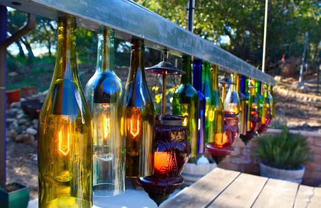 Glass Bottle Idea Chandelier for Outdoor Living Space