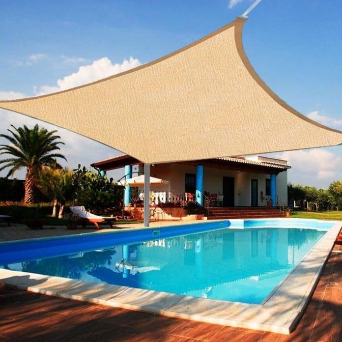 45 Patio Umbrella Ideas & Sun Shade Sail Designs for Backyard on Shade Sail Backyard Ideas id=89854
