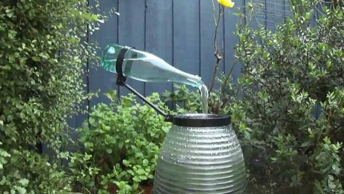 Wine Bottle Water Feature Idea