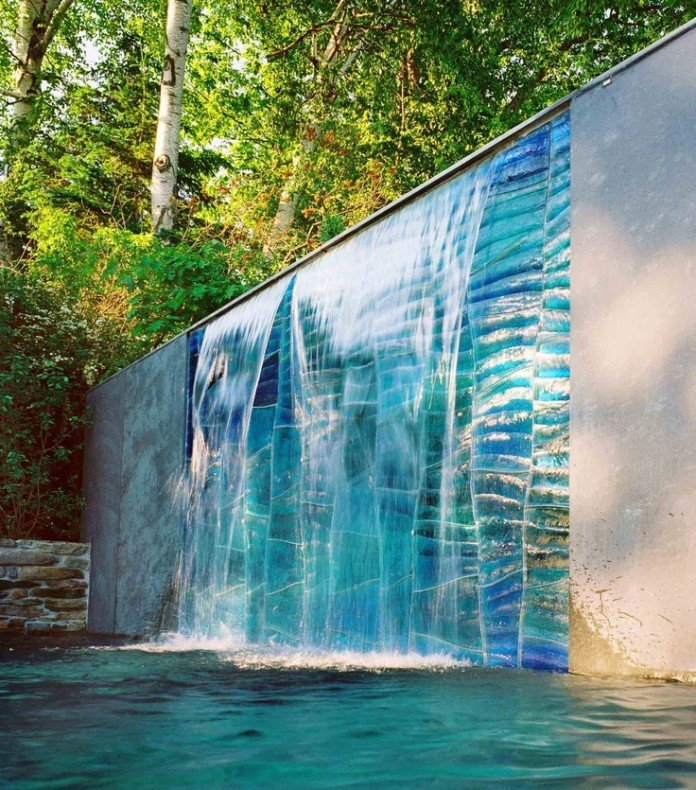 K Blue Art Glass Water Feature Wall