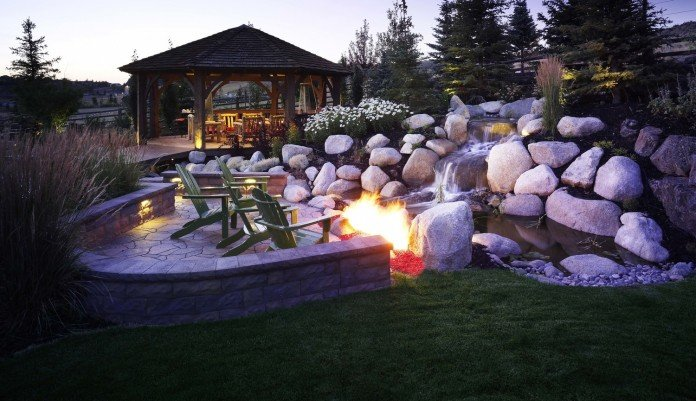 Campfire and waterfall water features