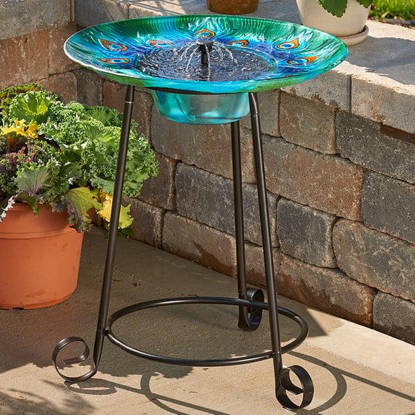 Peacock solar bird bath