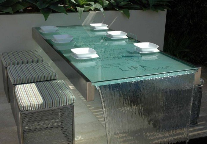 Cafe table water feature in the garden