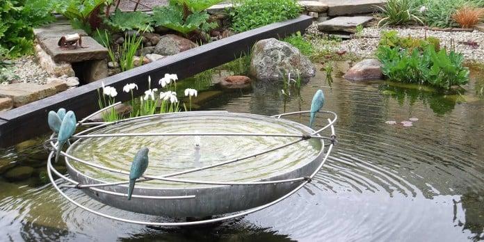 Big bird bath bowl idea with parrots