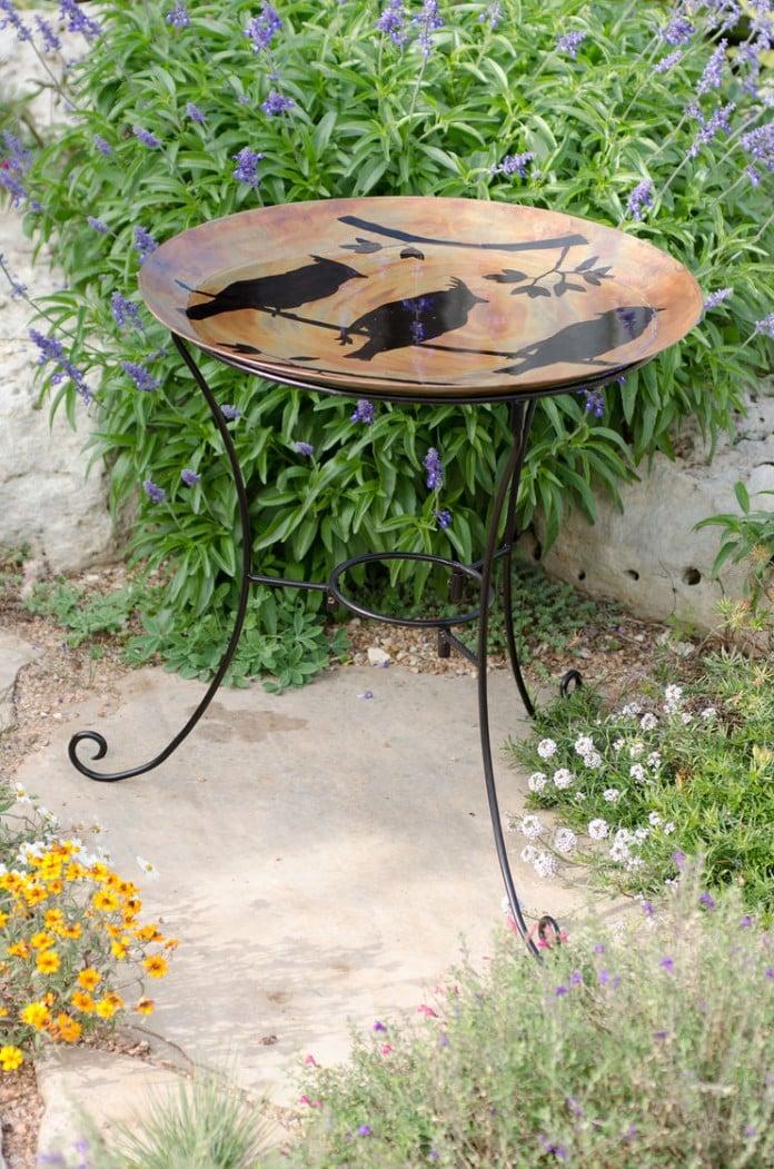 Cedar waxwings copper bird bath