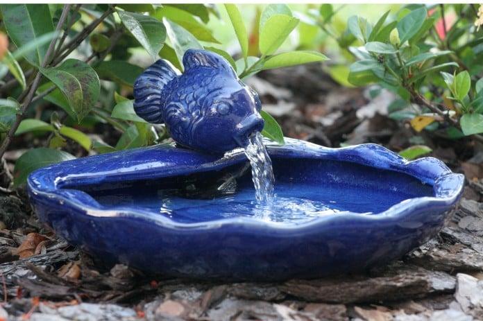 Koi Spitter Fountain Bird Bath