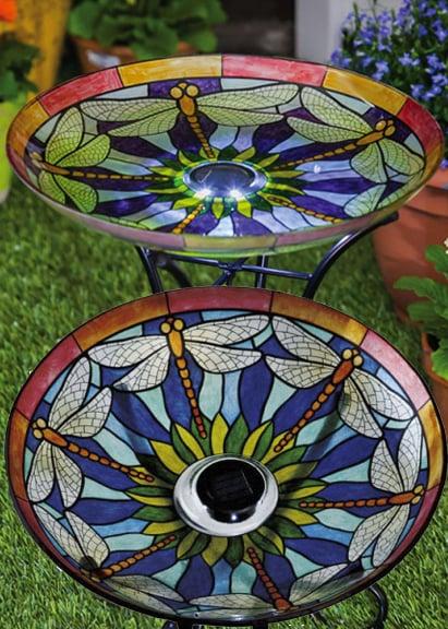Solar Dragonfly Bird Bath Idea