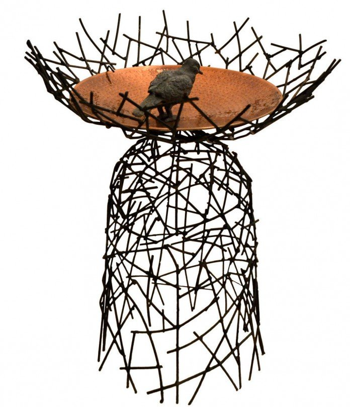 Moira Fain Steel Copper Bird Bath