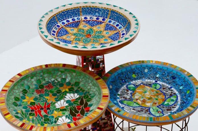 Unique Bird Bath Mosaic Trio