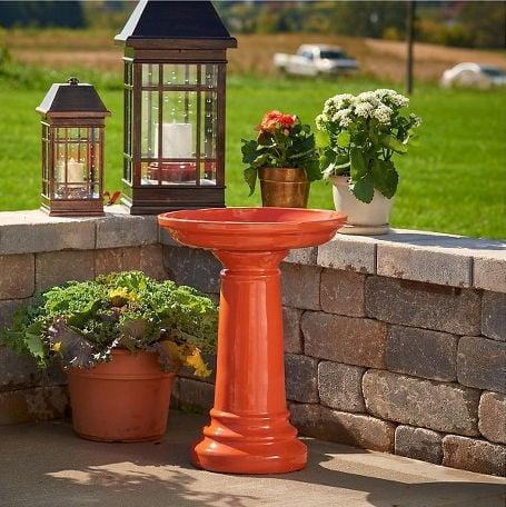 Orange Ceramic Glossy Bird Bath