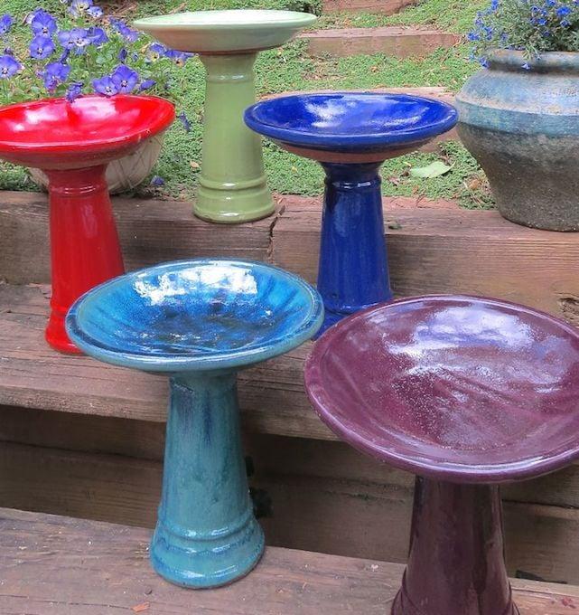 Clic Ceramic Pedestal Bird Bath