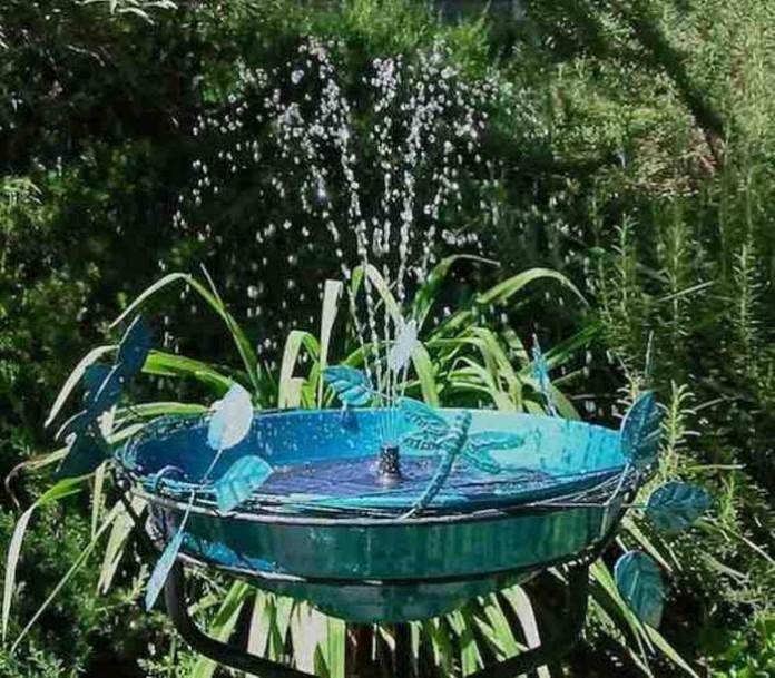 Solar Dragonfly Bird Bath Metal