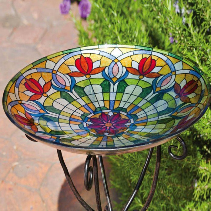 Tiffany Stained Glass Bird Bath