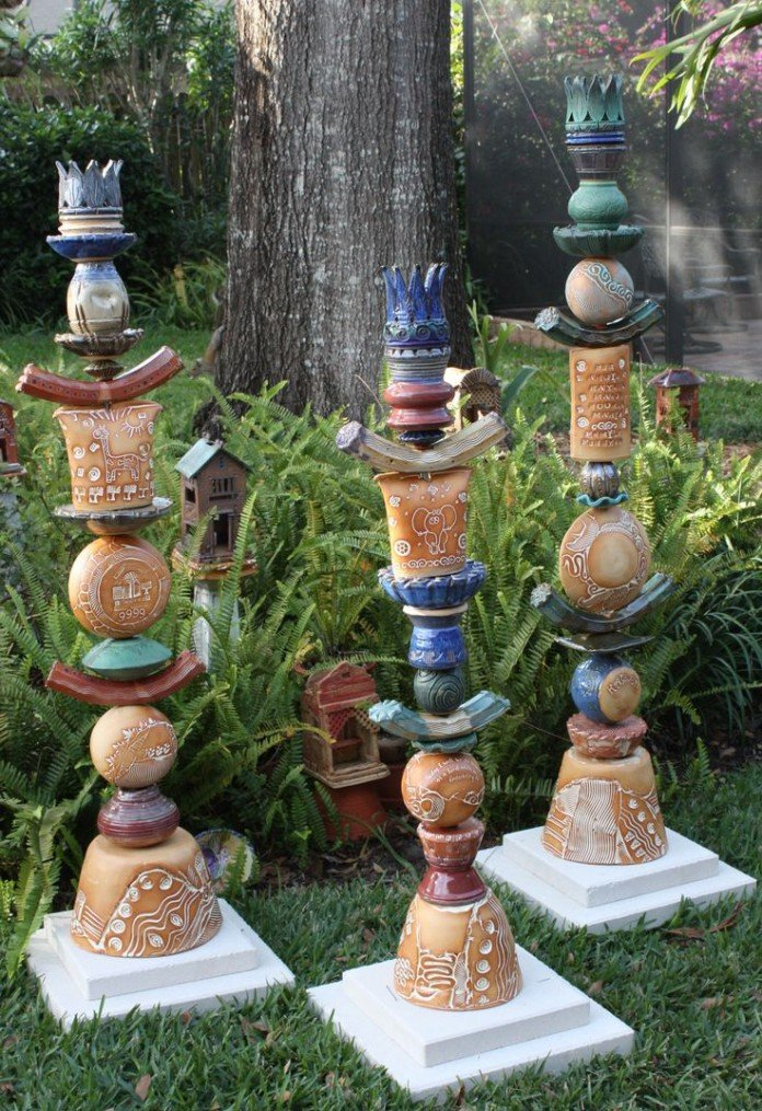 Pottery Garden Totems