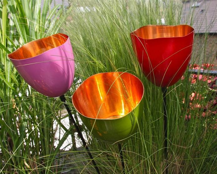 Copper Tulip Garden Stake