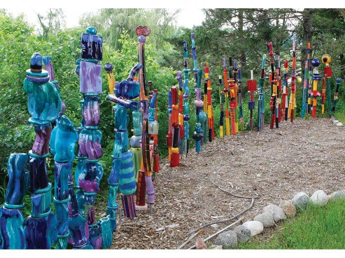 Garden Totems Gl Ceramic Mosaic Wooden Diy Outdoor Sculptures