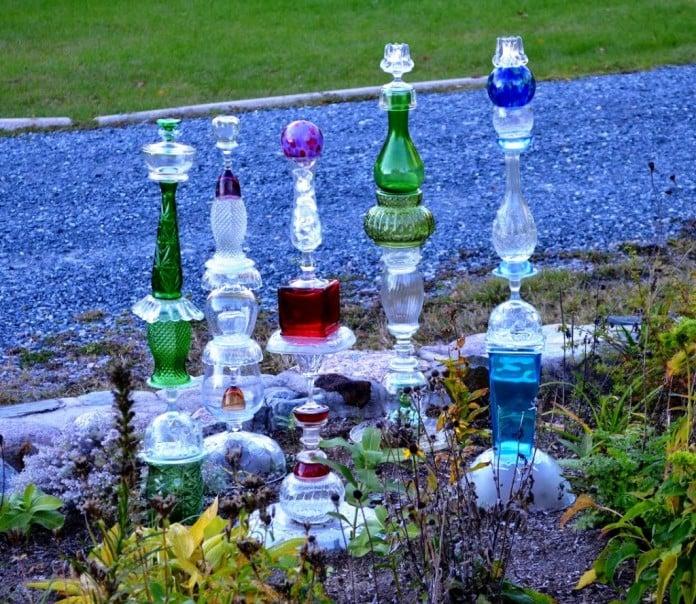 vintage glass garden totem