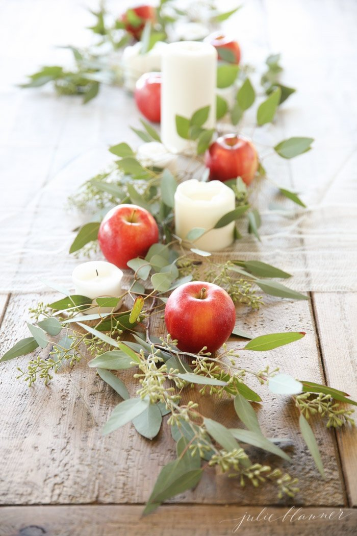 Apples on the table for fall