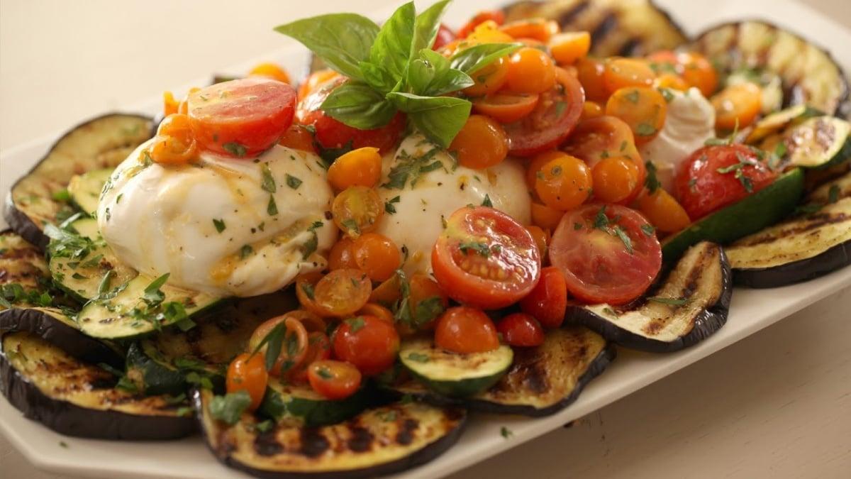 Eggplant cheese tomato basil