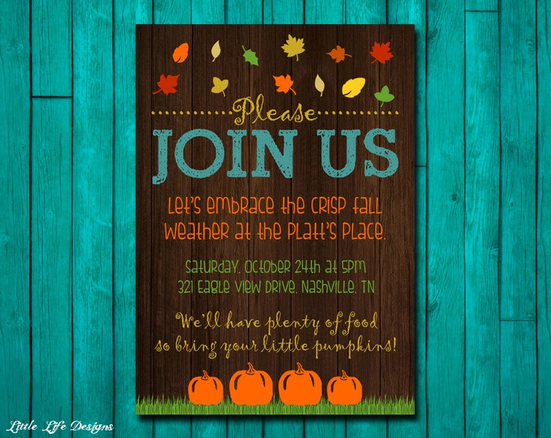 Fall harvest party invite