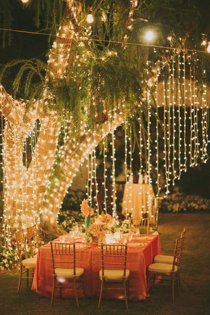 Over the top fairy lights fall garden party