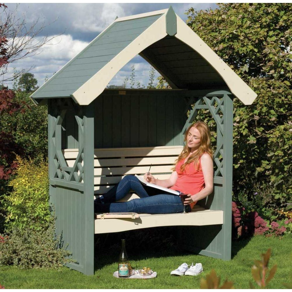 Painted Bench Arbor Britannia With A Straight Gable Roof By Rowlinson
