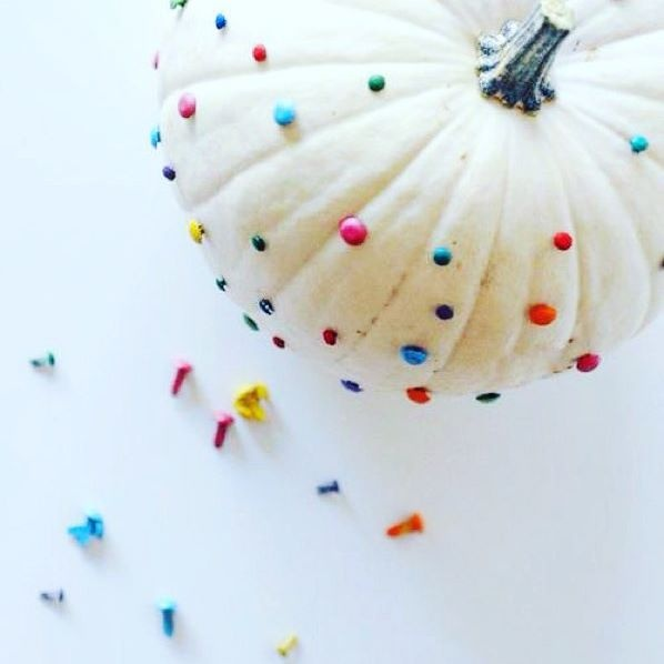 Pumpkin decorating idea with colored pins