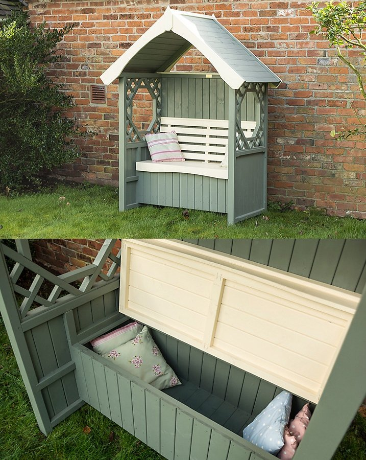 Rowlinson Windsor bench arbor with cushion storage box