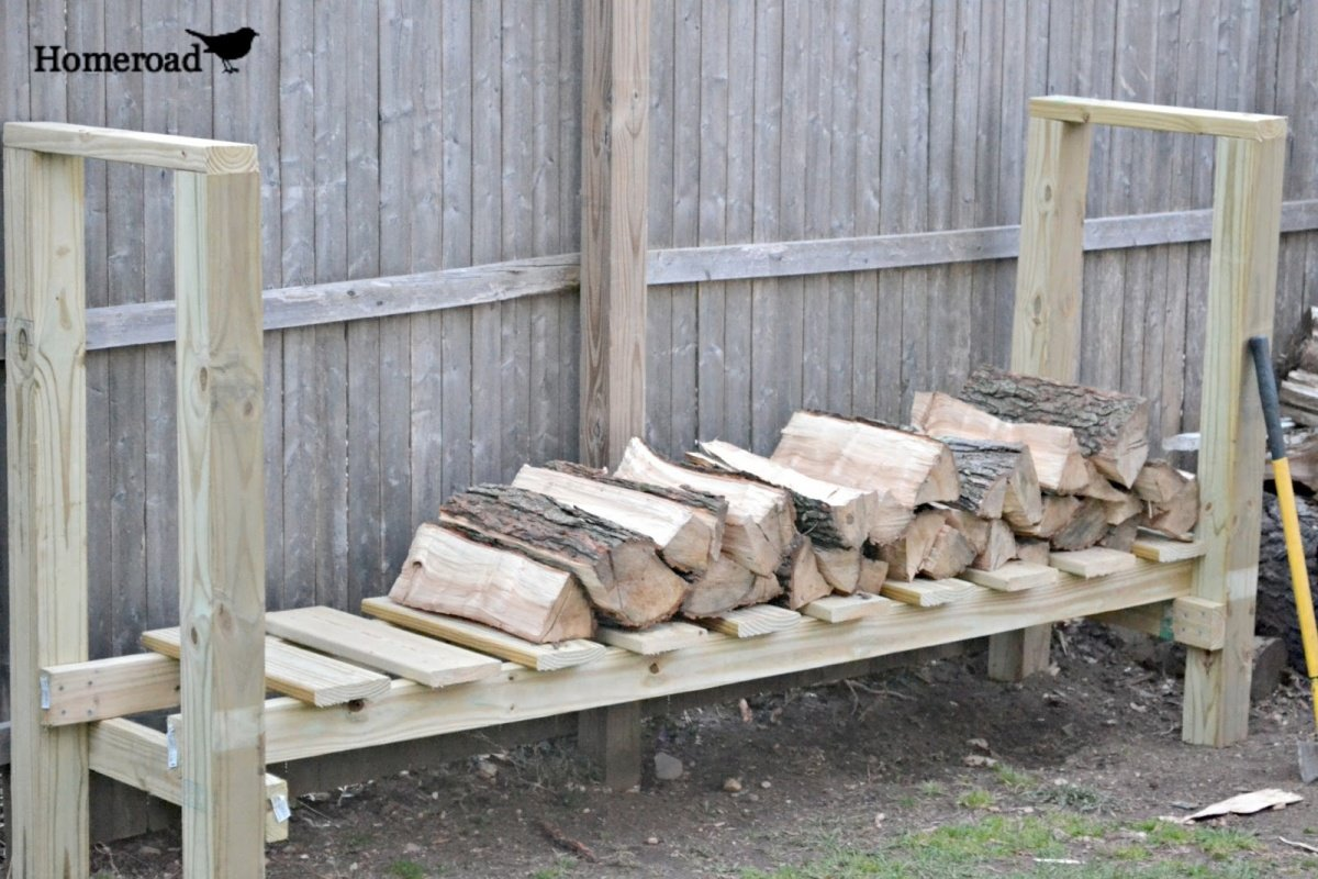 DIY Log Holder Plan Built Using 2x4s and 4x4s