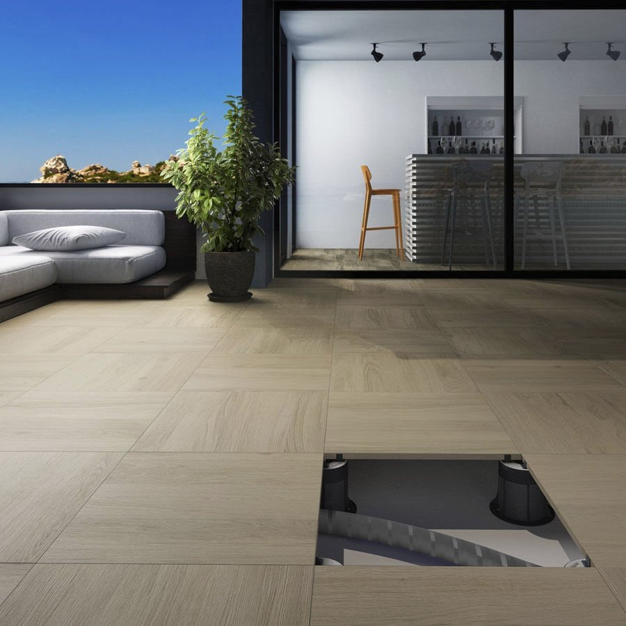 Strong Porcelain tile designed for raised access floor installation
